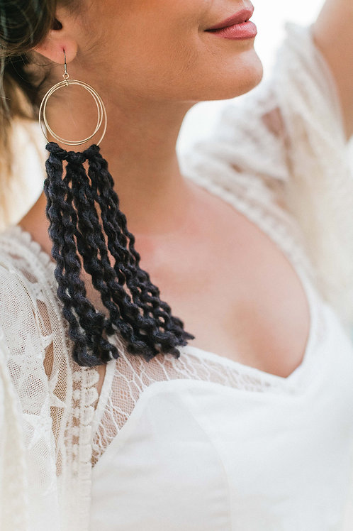 BLACK WOOL & GOLD EARRING