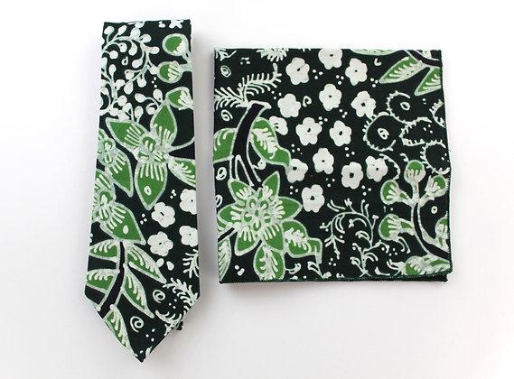 Necktie & Pocket Square (Black Motif)