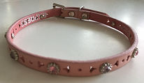 Pink Suede Collar w/Punched Design