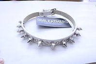 White Leather Spiked Collar