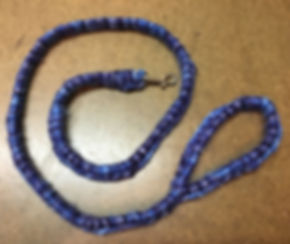 Recycled/Upcycled Leash, 3' with Hand-crocheted 'cover.'