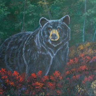 Black Bear in Red Flowers