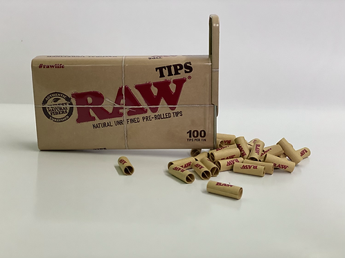 Raw pre rolled tips 100ct tin