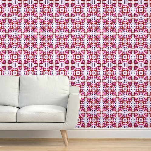 Red & Purple Tile Wallpaper