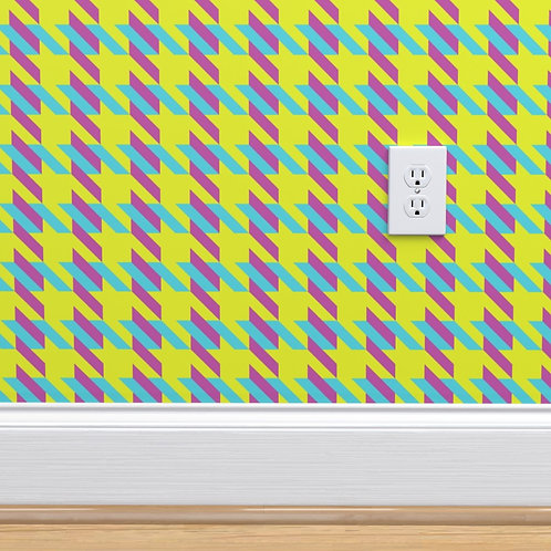 Green with Pink & Blue Houndstooth Wallpaper