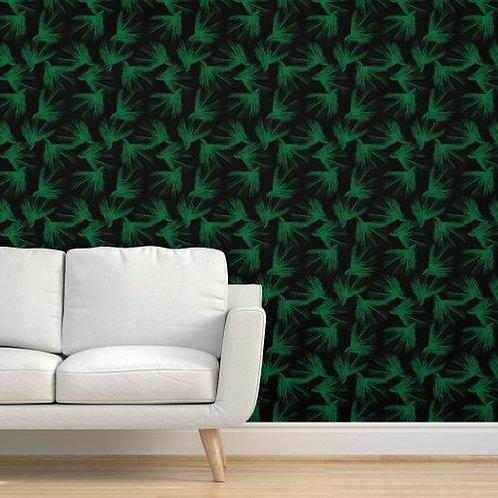 Pine Boughs Wallpaper, Green or Gold