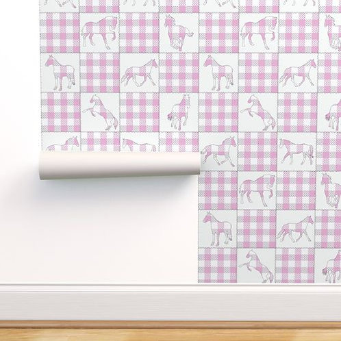 Pink Buffalo Check Horse Quilt Wallpaper and Home Décor