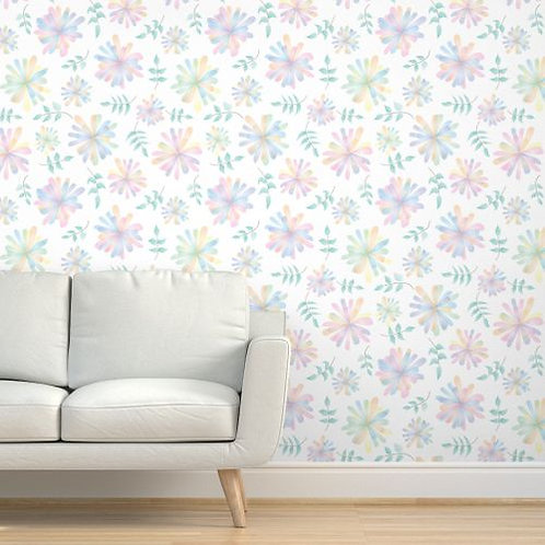 Fairy Flowers with Leaves Wallpaper