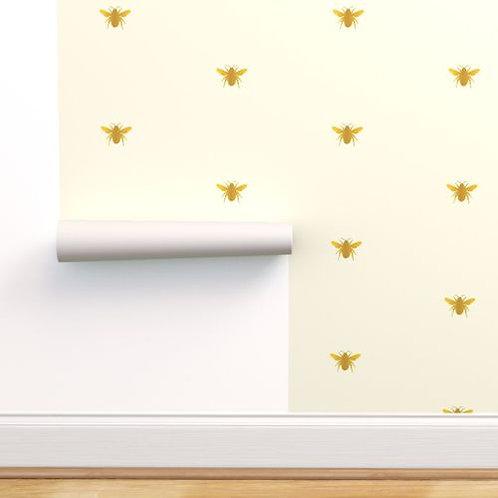 Gold Honey Bees Wallpaper