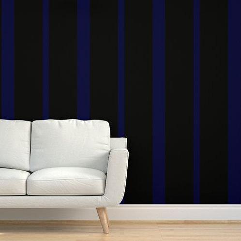 Blue on Black Stripes Wallpaper