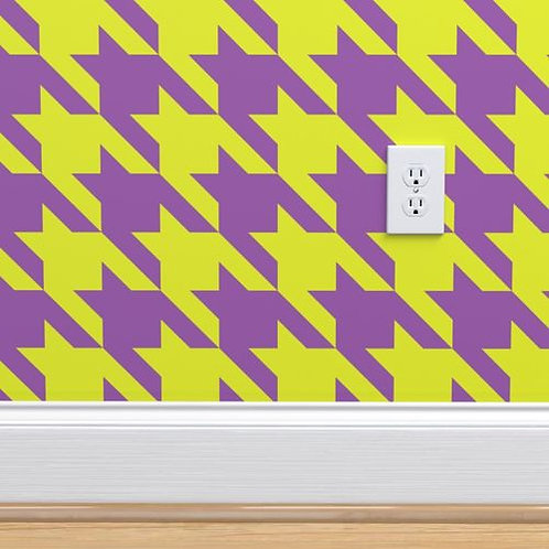 Chartreuse & Purple Houndstooth Wallpaper and Home Décor