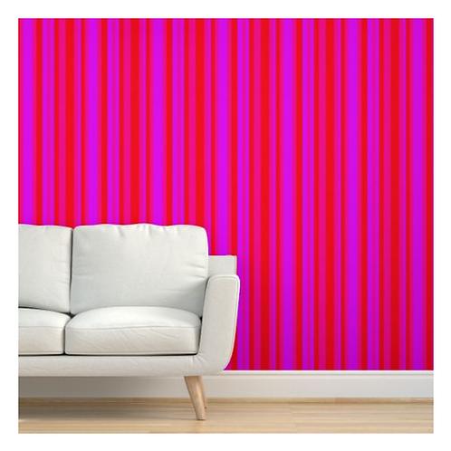 Red & Fuchsia Stripe Wallpaper