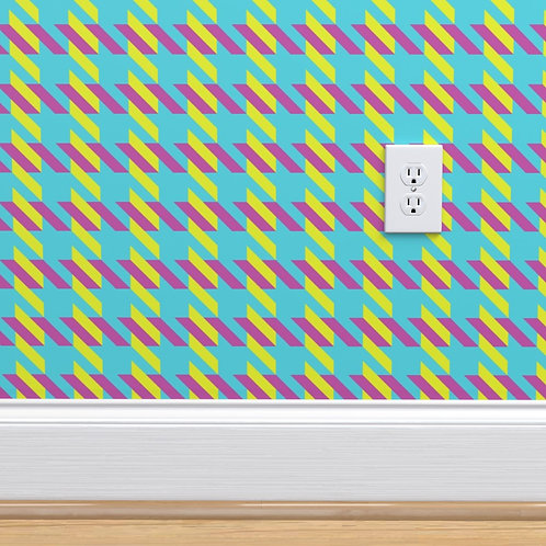 Blue with Pink & Green Houndstooth Wallpaper