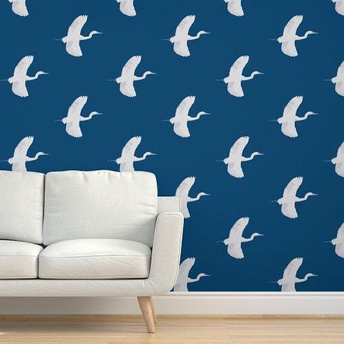 Egrets on Dark Blue ss Wallpaper & Fabric