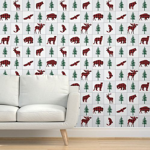 Forest Animals Buffalo Check Quilt Wallpaper and Home Décor