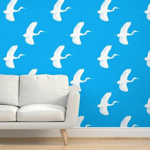 Egrets on Cyan Wallpaper & Fabric