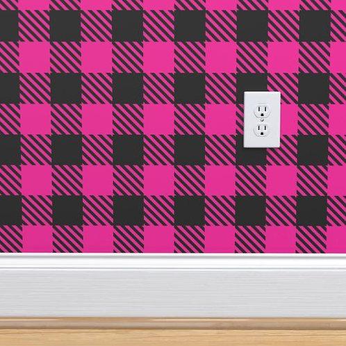 Magenta Buffalo Check Wallpaper and Home Décor