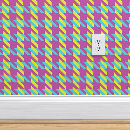 Pink with Blue & Green Houndstooth Wallpaper