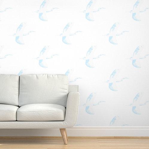 Egrets on White Wallpaper & Fabric