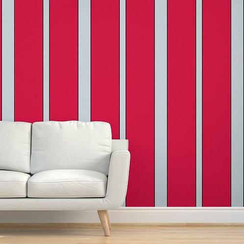 Grey & Black Stripes  on Red Wallpaper