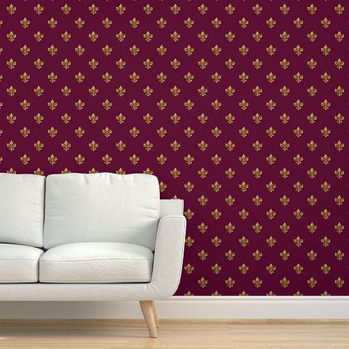 Gold Fleur de Lis on Magenta Background Wallpaper