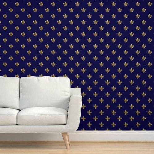 Gold Fleur de Lis on Blue Background Wallpaper
