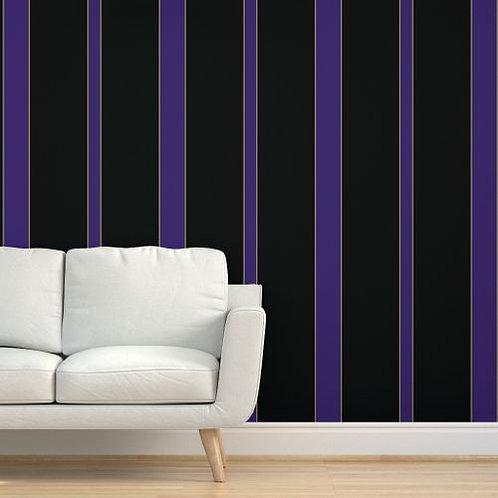 Purple & Gold Stripes on Black Wallpaper