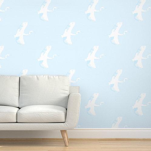 Egrets on Light Blue Wallpaper & Fabric
