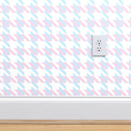 Pink & Blue Houndstooth Wallpaper or fabric