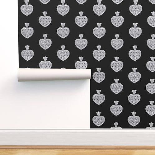 Vintage Heart Diamond Pendant on black Wallpaper or fabric