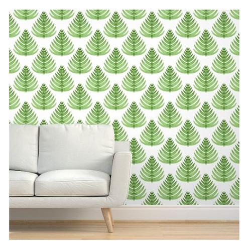 Green Trees on White Wallpaper