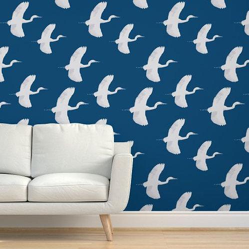 Egrets on Dark Blue mx Wallpaper & Fabric