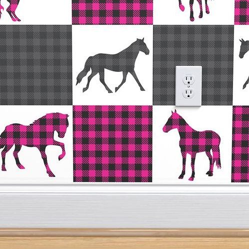 Gray & Magenta Patchwork Horse Quilt Wallpaper and Home Décor