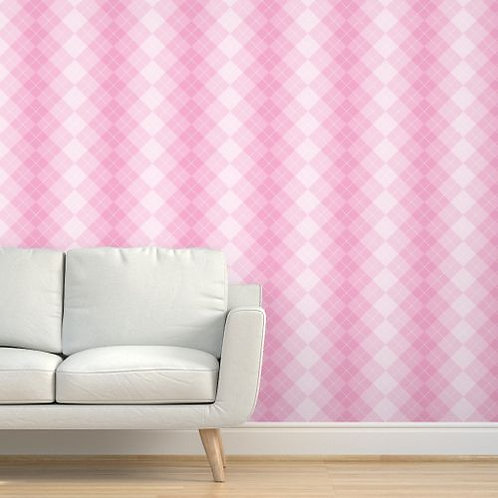 Pink Plaid Fade Wallpaper or fabric