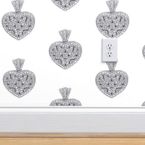 Vintage Heart Diamond Pendant Wallpaper or fabric
