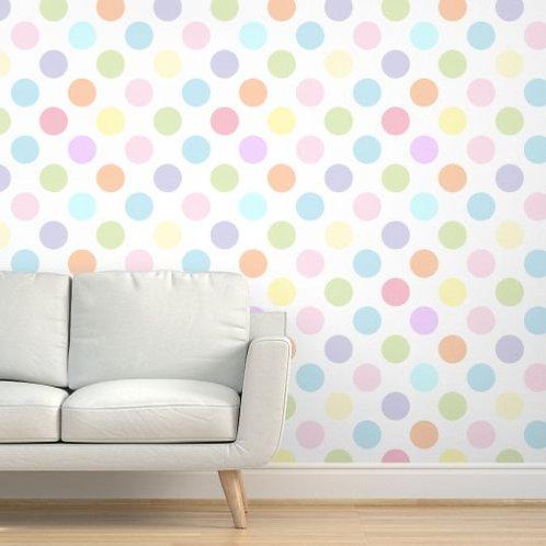 Pastel Polka Dots Large Wallpaper