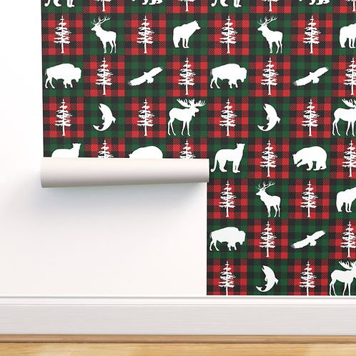 Red & Green Forest Animals Buffalo Check Quilt Wallpaper and Home Décor