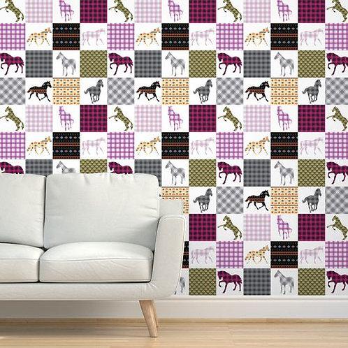 Patchwork Horse Quilt Wallpaper and Home Décor