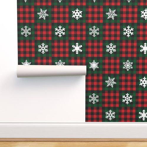 Snowflake Buffalo Check Quilt Wallpaper and Home Décor