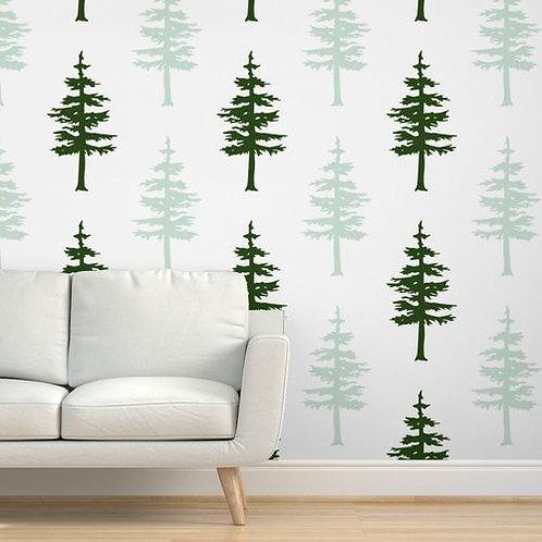 Green Trees Light & Dark Wallpaper & Home Décor