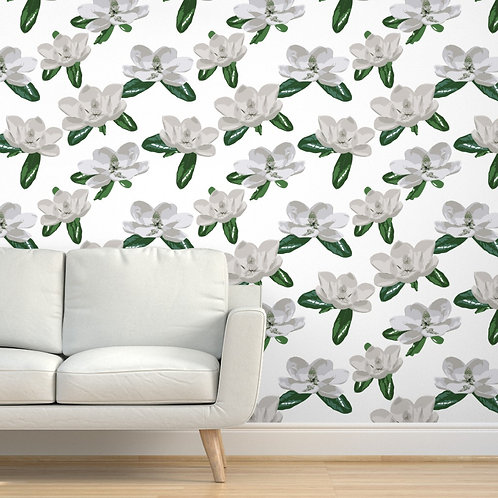 Large Magnolias on white Wallpaper or fabric