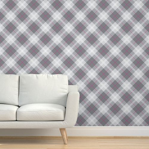 Grey Plaid Wallpaper, Magenta accent stripe