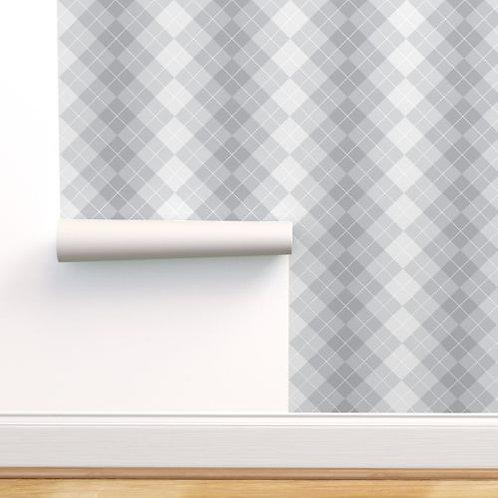 Gray Plaid Fade Wallpaper or fabric