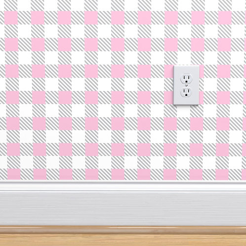 Pink & Gray Stripe Check Wallpaper or fabric