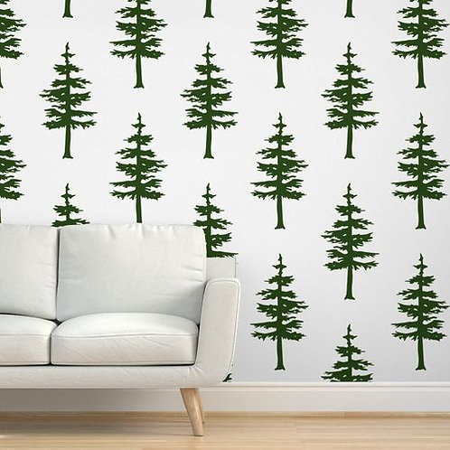 Green Trees on White Wallpaper & Home Décor