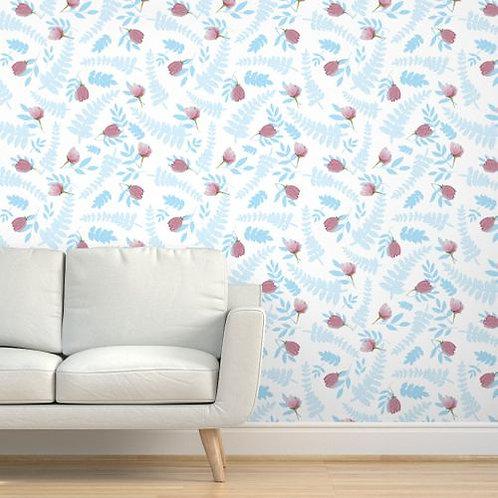 Blue Ferns & Pink Flowers Wallpaper