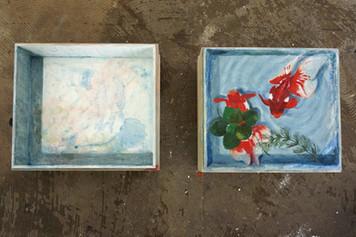 Goldfish In Wood Box (2 set)