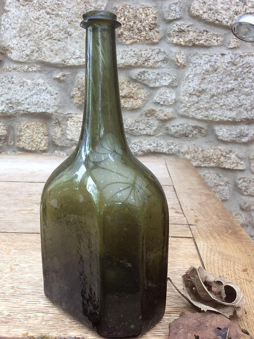 Superb rare flat octagonal wine c1730