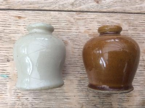 "Mercury jar white bristol glaze ""1"" c1890"