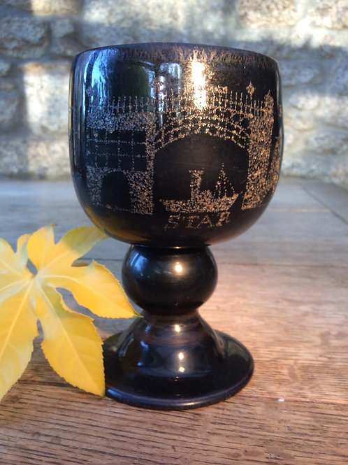 Unique stippled freeblown blackglass goblet
